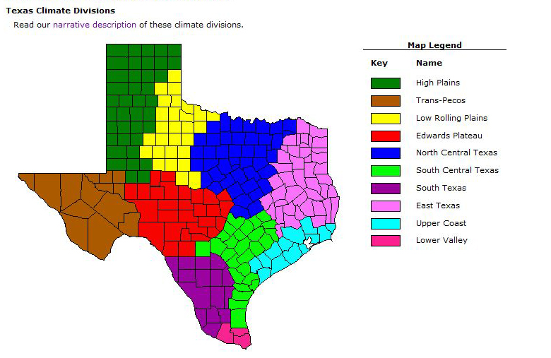 Map Of South Central Texas.Texas Climate Divisions Texas